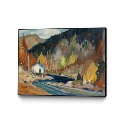 """CLICART """"Saveur D'automne""""by Louis Tremblay Framed Abstract Wall Art Print 40 in. x 30 in., brown/ blue - Home Depot"""
