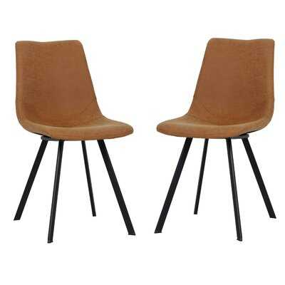17 Stories Markly Modern Leather Dining Chair With Metal Legs - Wayfair