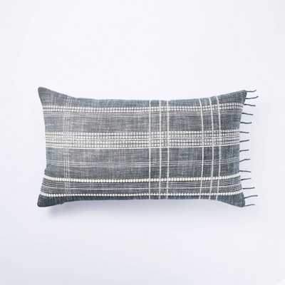 Lumbar Woven Plaid Pillow Blue - Threshold designed with Studio McGee - Target