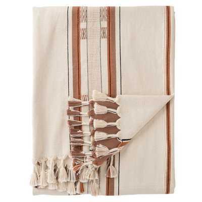 Sovima Hand-Loomed Tribal Cream/ Tan Throw - Collective Weavers