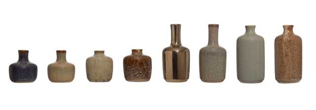 Stoneware Vases with Reactive Glaze Finish (Set of 8 Styles) - Moss & Wilder
