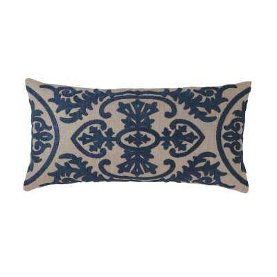 Lana Linen Damask Lumbar Pillow Color: Navy - Perigold