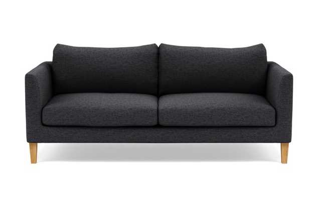 Owens Sofa with Black Coal Fabric, standard down blend cushions, and Natural Oak legs - Interior Define