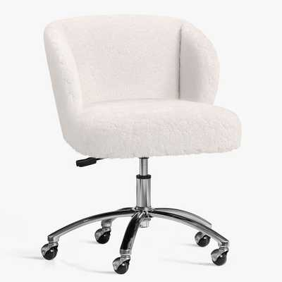 Polar Bear Faux-Fur Wingback Swivel Desk Chair, In-Home Delivery - Pottery Barn Teen