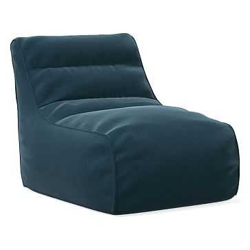 Levi Bean Bag Chair, Poly, Performance Velvet, Lagoon - West Elm