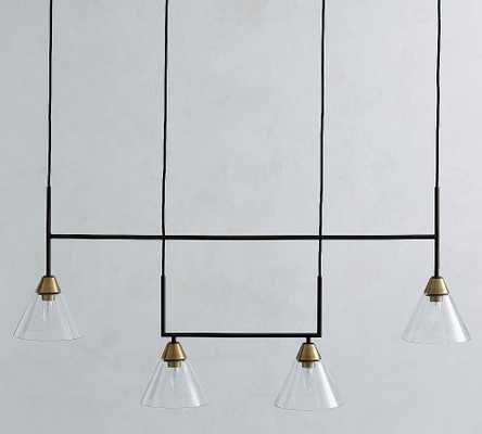 Claremont Glass Linear Chandelier, Flared, Bronze - Pottery Barn