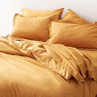 Mellow Amber Organic Cotton King Duvet Cover - Crate and Barrel