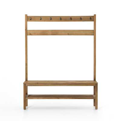 Four Hands Kiana Solid Wood Hall Tree with Bench and Shoe Storage Color: Natural - Perigold