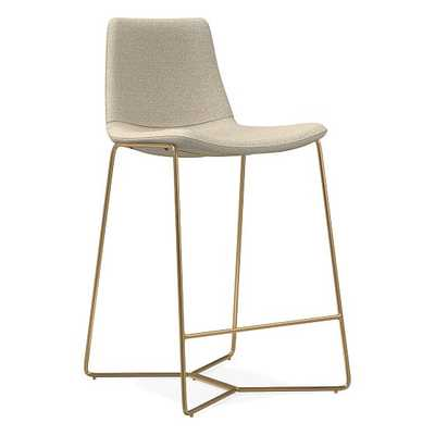 Slope Counter Stool, Chenille Tweed, Silver Gray, Antique Brass - West Elm