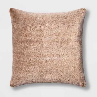 Faux Rabbit Fur Square Pillow Brown - Threshold - Target