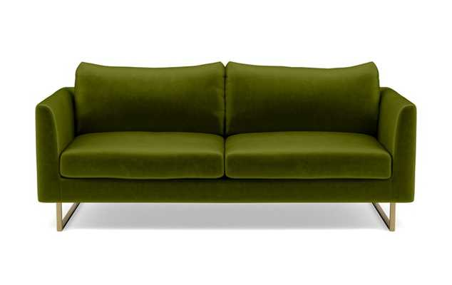 Owens Sofa with Green Moss Fabric and Matte Brass legs - Interior Define