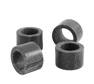 Black Marble Napkin Ring, Set of 4 - Pottery Barn