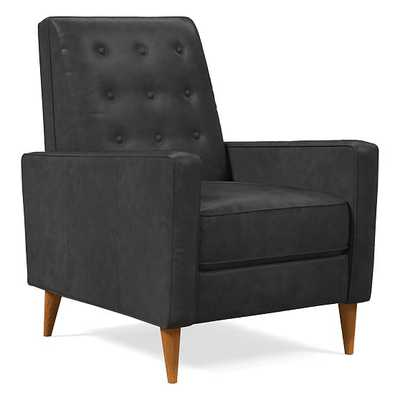Rhys Midcentury Recliner, Weston Leather, Cinder, Pecan - West Elm