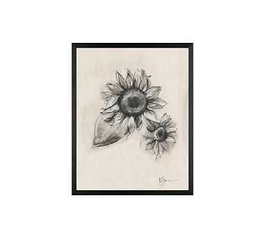 "Charcoal Sunflower Sketch, Double Bloom, 16"" x 20"" Wood Gallery, Black, No Mat - Pottery Barn"