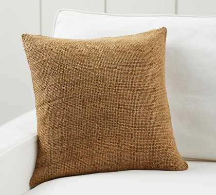 """Faye Linen Textured Pillow Cover, 20 x 20"""", Tobacco - Pottery Barn"""
