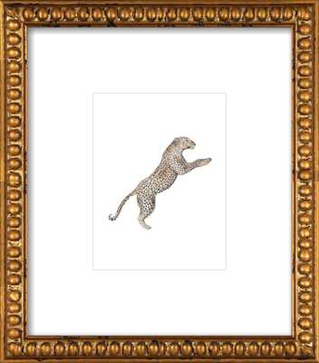 Leaping Leopard Watercolor by Lauren Rogoff - 8x10 - Gold Crackle Bead Wood with Matte - Artfully Walls
