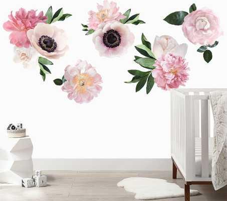 Soft Pink Garden Flowers Wall Decal, Full - Pottery Barn Kids