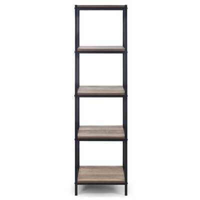 August 57.25 In. Light Brown Shelf Etagere Bookcase Media Center With Metal Frame - Wayfair
