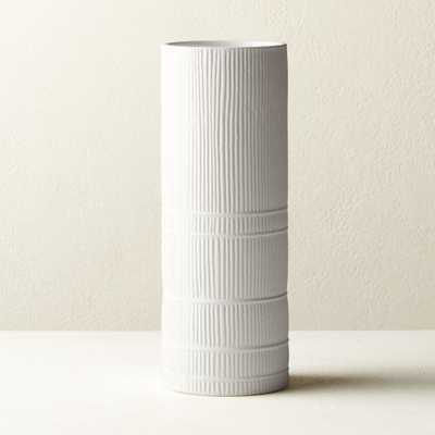 Cinch White Cylinder Vase - CB2