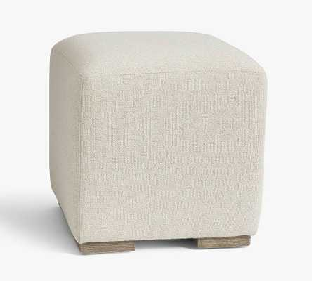 Universal Upholstered Cube, Performance Boucle Oatmeal - Pottery Barn