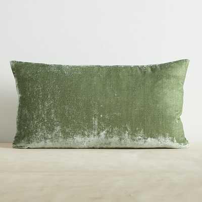 """Lush Velvet Pillow Cover, 12""""x21"""", Eucalyptus, Set Of 2 - West Elm"""