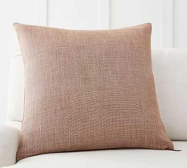 "Belgian Linen Pillow Cover, 24 x 24"", Dark Apricot - Pottery Barn"