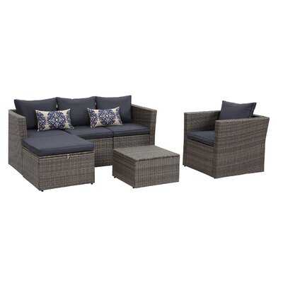 Red Barrel Studio® Brisk 6 Piece All Weather Wicker Sofa Seating Group With Cushions, Ottoman With Storage And Coffee Table - Navy - Wayfair