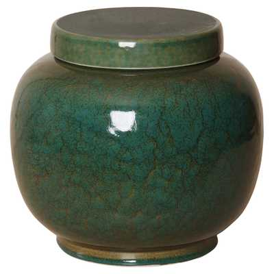 Jaego Bazaar Glazed Forest Green Ceramic Ginger Jar - 11H - Kathy Kuo Home