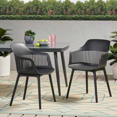 Noble House Dahlia Black Plastic Outdoor Dining Chair (2-Pack) - Home Depot