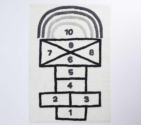 Machine Washable Activity Hop Scotch Rug, 4x6, Black/grey - Pottery Barn Kids
