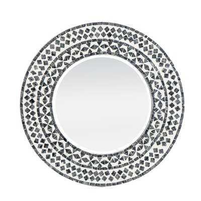 "Round Capiz Framed Mirror With Beveled Glass - 24""Dia - Black,White - Wayfair"