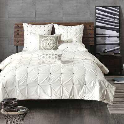 Leflore Elastic Embroidered Cotton Duvet Cover Set - AllModern