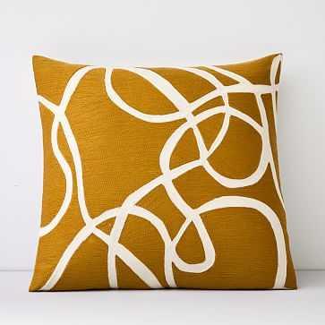 "Crewel Rope Pillow Cover, Dark Horseradish, 20""x20"" - West Elm"