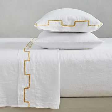 Belgian Linen Ladder Stripe Embroidery Sheet Set, Queen, White + Dark Horseradish - West Elm