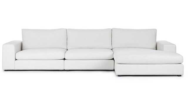 Beta Quartz White Right Chaise Sectional - Article
