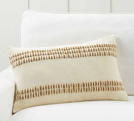 "Reed Striped Lumbar Pillow Cover, 16 x 26"", Neutral - Pottery Barn"