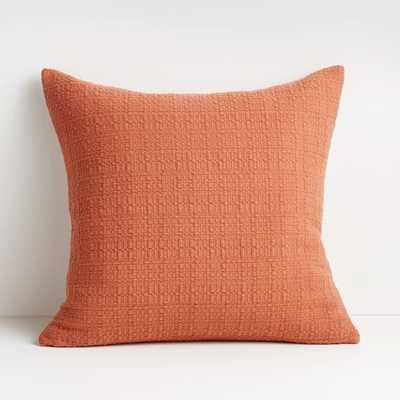 """Bari 20"""" Baked Clay Knitted Pillow with Feather-Down Insert - Crate and Barrel"""