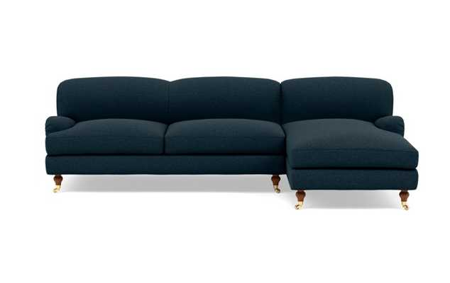 Rose by The Everygirl Right Sectional with Blue Union Fabric, extended chaise, and Oiled Walnut with Brass Caster legs - Interior Define