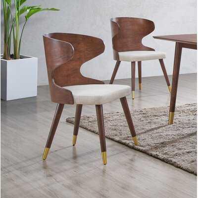 Amata Linen Upholstered Wingback Side Chair set 2 - Wayfair