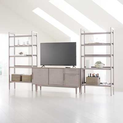 """Tate Stone 64.5"""" Media Console with 2 Wide Bookcases - Crate and Barrel"""