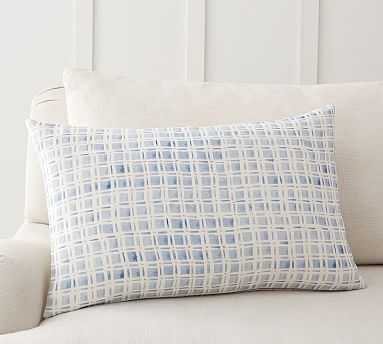 """Rebecca Atwood Grid Reversible Pillow Cover, 16 x 26"""", Blue Multi - Pottery Barn"""