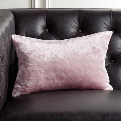 "18""x12"" Viscose Pink Velvet Pillow with Down-Alternative Insert - CB2"