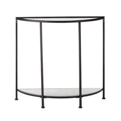Home Decorators Collection Bella Demilune Antique Bronze Metal and Glass Console Table (32 in. W x 30 in. H) - Home Depot