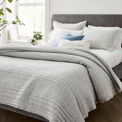 Belgian Flax Linen Linework Quilt & Standard Sham, Frost Gray, Full/Queen - West Elm