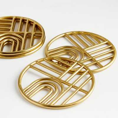 Gold Metal Coasters, Set of 4 - Crate and Barrel