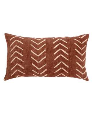 north south birdseye mud cloth lumbar pillow in rust - PillowPia