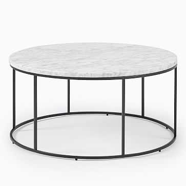 Streamline Round Coffee Table, Marble, Antique Bronze - West Elm