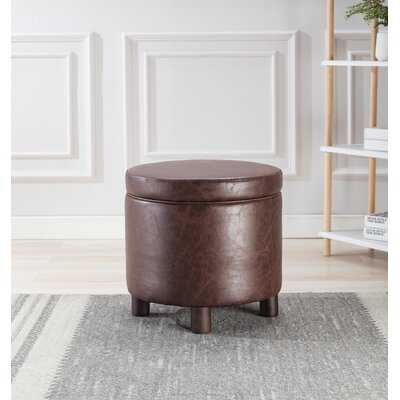 """Dubai 19"""" Wide Faux Leather Round Storage Ottoman - Wayfair"""