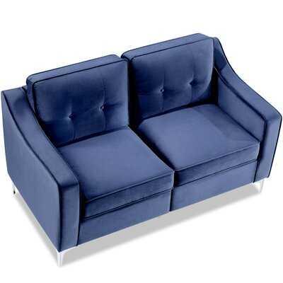 """57"""" Tufted Velvet Upholstered Loveseat  Sofa Blue - Wayfair"""