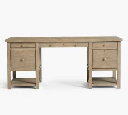 """Farmhouse 70"""" Desk with Drawers, Gray Wash - Pottery Barn"""